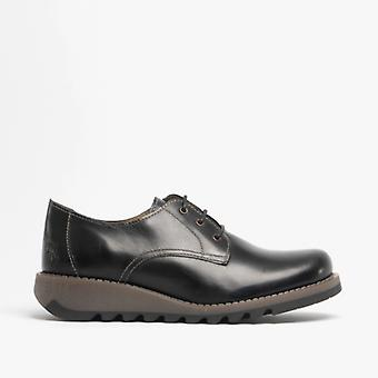 Fly London Simb K Girls Leather Lace Derby Shoes Black