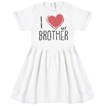 I Love My Brother Red Heart Baby Dress