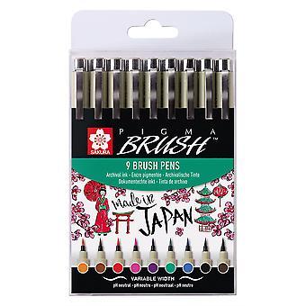 Sakura Pigma Brush Pen Set of 9 Assorted Colours