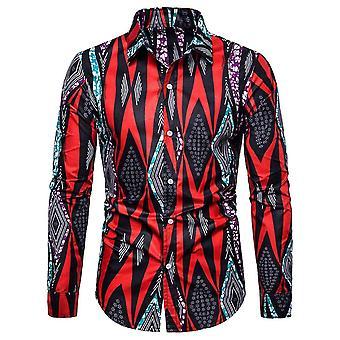 Allthemen Men's Lapel Ethnic Print Long Sleeve Shirt
