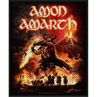 Amon Amarth parche Surtur Rising Band Logo oficial nuevo negro 8 cm x 10 cm tejida
