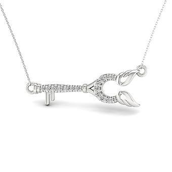 Igi certificado s925 plata de ley 0.12ct tdw collar de clave de diamante