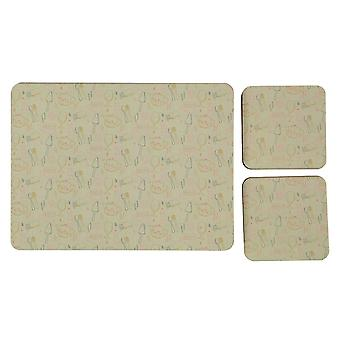 Stanford Home Unisex 4 Pack Cork Back Place Mats and Coasters