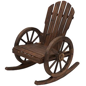 Outsunny Wooden Adirondack Rocking Chair Armchair Garden Furniture - Carbonized