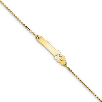 6.55mm 14k Polished Flower With 1 In Ext for boys or girls ID Bracelet 5.5 Inch - 1.7 Grams