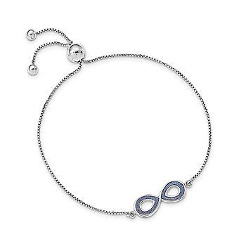 925 Sterling Silver Rhodium plaqué Glitter Infusé Infinity Bijoux réglables pour les femmes