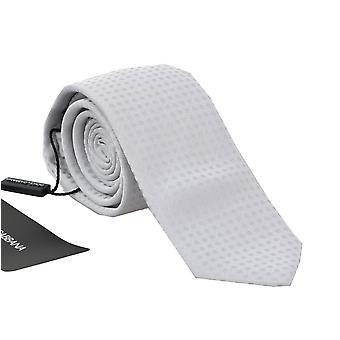 Dolce & Gabbana White Silk Polka Dot Pattern Tie