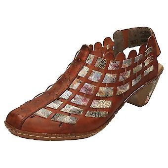 Rieker Slingback Leather Sandals Heel Shoes 46778-24