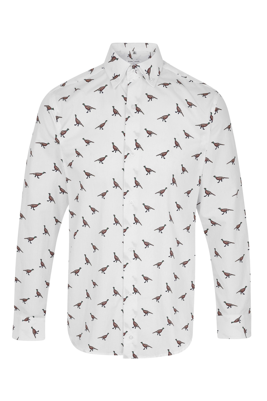 JSS Pheasant Print Regular Fit 100% Cotton Shirt