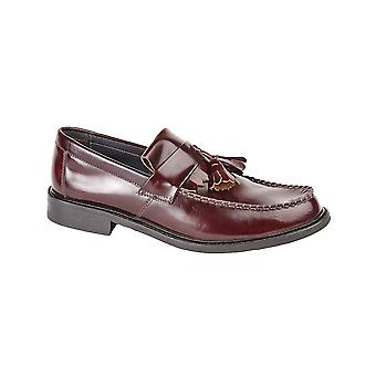 Roamers Oxblood Hi-shine Leather Toggle Saddle Loafer Leather Lining & Sock Resin Sole