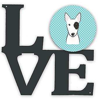 Checkerboard Blue Bull Terrier Metal Wall Artwork LOVE