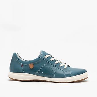 Josef Seibel Caren 01 Ladies Leather Casual Trainers Blue