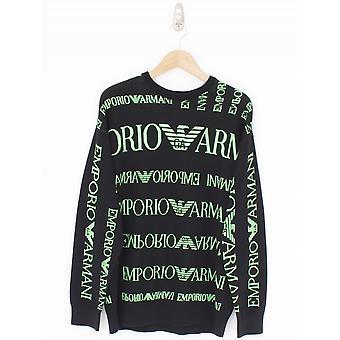 Emporio Armani All Over Print Crew Knit - Black/Green