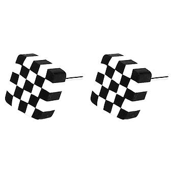 Black and White Checkered Illusion Stud Earrings