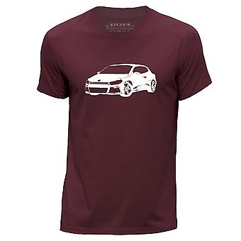 STUFF4 Men's Round Neck T-Shirt/Stencil Car Art / Scirocco R/Burgundy