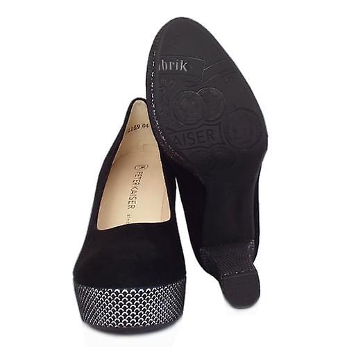 Peter Kaiser Irmgard Women-apos;s Trendy Block Heel Court Shoes In Black Suede