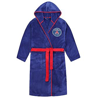 PSG Boys Dressing Gown Robe Hooded Fleece Kids OFFICIAL Football Gift