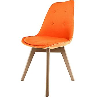 Fusion Living Eiffel Inspired Orange Fabric Dining Chair With Squared Light Wood Legs