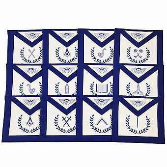 Masonic blauwe lodge machine geborduurde schorten