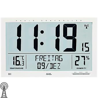 AMS 5887 wall clock kelloradio radio-ohjattavat seinä kello valkoinen digitaalinen päivämäärä herätyskello lämpömittari