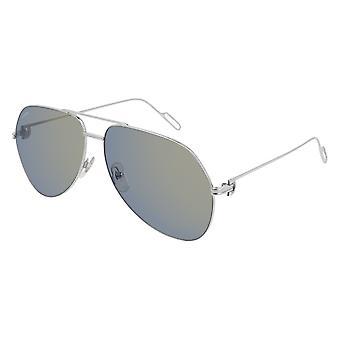 Cartier PREMIER DE CARTIER CT0110S 006 Silver/Blue Mirror Sunglasses