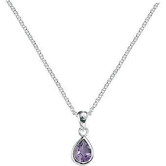Elementer sølv ametyst Teardrop anheng - sølv/lilla