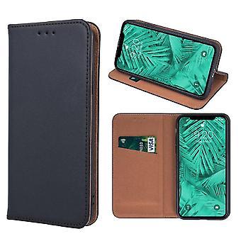 Samsung Galaxy J4 Plus - Ekte Skinn Mobile Lommebok- Svart