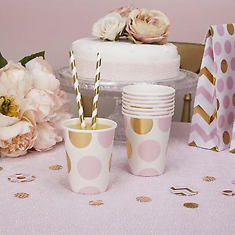 Party Paper Cups Pink and Gold Dots Baby shower / Christening /Party x 8