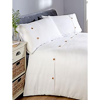 Waffle Duvet Cover and Pillowcase Bed Set - Doble, Blanco