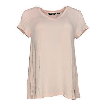 H de Halston Women's Top Essential V-Neck Forward Notch Detail Pink A306231