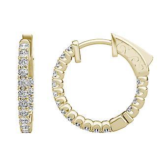 14K geel gouden Moissanite door Charles & Colvard 1.7mm ronde Hoop Earrings, 0.68cttw DEW