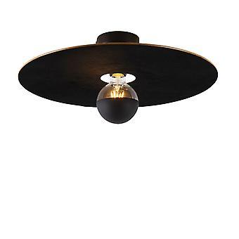 QAZQA Lampe de plafond noir ombre plate noir 45 cm - Combi