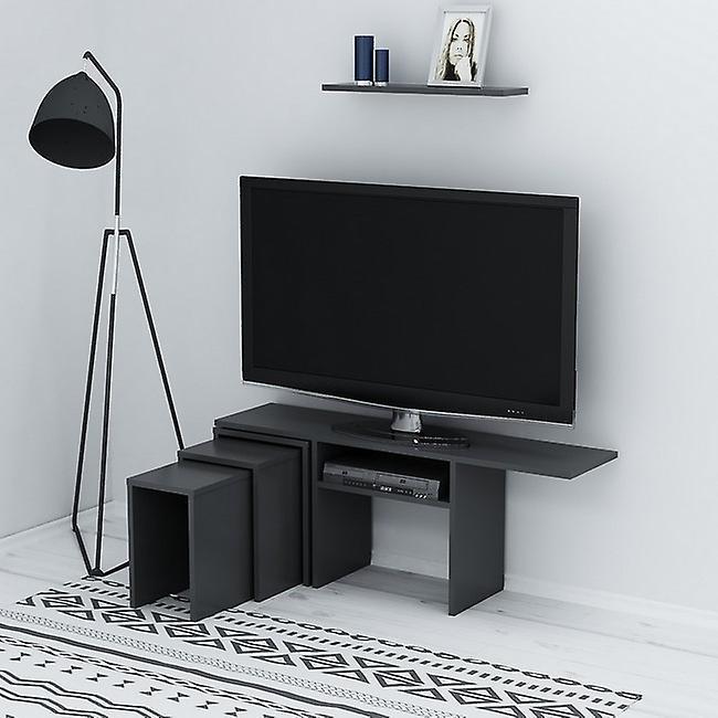 Mobile Porta TV Peri Colore Antracite in Truciolare Melaminico, L120,6xP29,5xA49 cm, L60xP14,5xA1,8cm