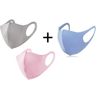 3x Face Mask, Washable Reusable Mouth Guard, Cloth Mask, Pink,Blue and Beige/Light Grey