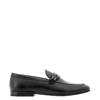 Salvatore Ferragamo 0736406 Heren's Black Leather Loafers