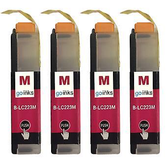 4 Magenta blekkpatroner for å erstatte Brother LC223M kompatibel/ ikke-OEM av Go blekk