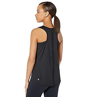 Core 10 Women's Standard Icon Series 'Scallop' Mesh Yoga, Black, Size Medium