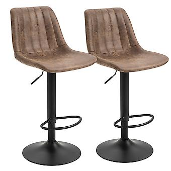 HOMCOM Set Of 2 PU Leather Retro Tub Bar Stools w/ Metal Frame Footrest Padding Height Adjustable Vintage Worn Out 360° Swivel Home Dining Brown