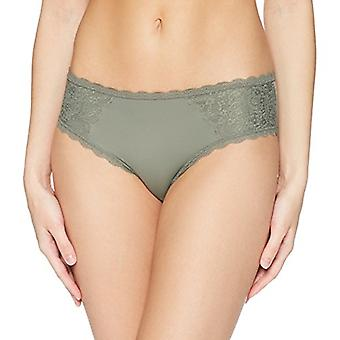 Marca - Mae Women's Supersoft Brushed Microfiber Hipster, 3 Pack, Shifting Sand/Dawn Pink/Castor Grey, X-Small