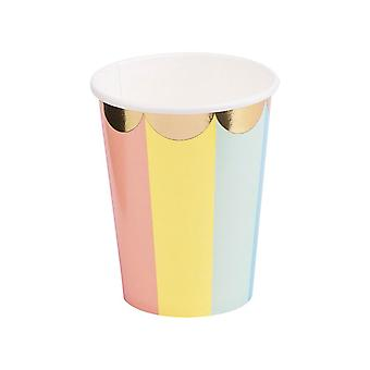 16PCS Party Geschirr bunte gestreifte Party Papier Tasse