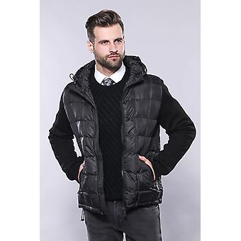 معطف أسود مغطى | wessi