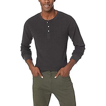 Goodthreads Men's Long-Sleeve Slub Thermal Henley, Black, X-Large