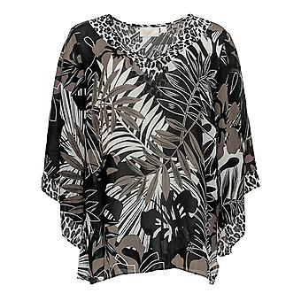 Belle by Kim Gravel Women's Top Printed Woven Blouse Black A373653