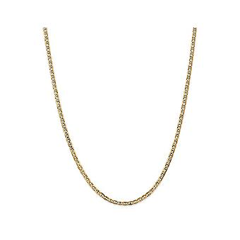 14K Yellow Gold Concave Anchor Chain Necklace 24 Inches
