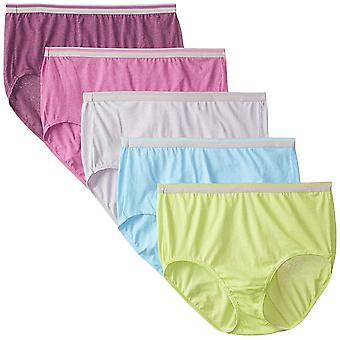 Fruit of the Loom Women's Plus Size Fit for Me 5 Pack Cotton Panties, Assorte...