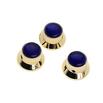 3PCS Blue Gem Dome Knobs Gold Metal Guitar Knobs Volume Tone Control Parts