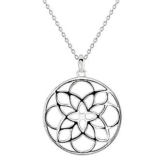 Dew Sterling Silver Lotus Medallion Pendant 90951HP028