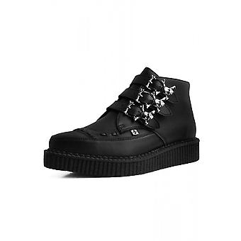 TUK Shoes Black TUKskin™ Vegan Skull 3-Buckle Pointed Boot