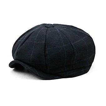 Black plaid pattern men's tweed look gatsby cap