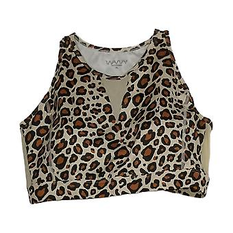 WVVY Power High-Neck Mesh-Inset Cheetah Print Sports Bra Brown 698-610